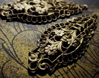 2pc Old Vintage Brass Long Dangle Filigree Earrings Drops Asian Orient Flower Connector Lace Stone Wrap Jewelry Findings Natural Patina 10K