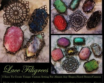 12 Filigree Wrap Settings Bezels Oxidized Dark Bronze Aged Natural Patina Brass Victorian Vintage Lace Connectors Jewelry Findings Lot 7ABCD