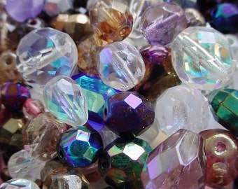 1/4 Pound Faceted Czech AB Glass Beads Crystal And Jewel Color Mix 2 4 6 8 10 12 mm Round Oval Teardrop Pear NIce Size Lot Lb Sale BB1ab
