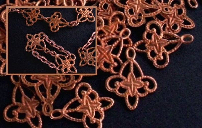 Lot Tiny Red Brass Filigree Connector Link Vintage Copper image 0