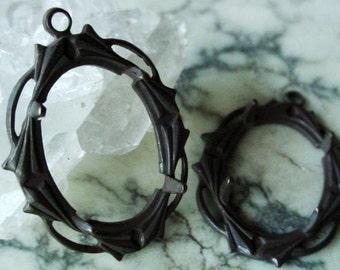 2pc 18/13 mm Oval Lace Edge 4 Prong Brass Setting Victorian Gothic Stl Cameo Cabochon Rhinestone 13/18 Oxidized Dark Brown Black Patina 3B