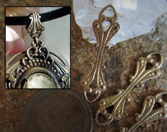 6pc Ornate Fancy Filigree Brass Fold Over Pendant Bail Connector Vintage Victorian Steampunk Stl Natural Bare Raw Bronze Tone Stampings 7F