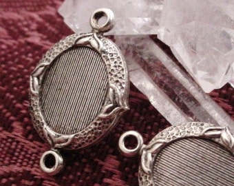 Lot Old Vintage 10X8 mm Oval Ornate Connector Setting Cabochon Cameo 2 Ring 10/8 mm Quality Antique Sterling Silver Brass Jewelry Finding 5M