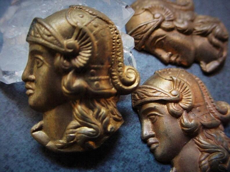 3pc Vintage Brass Roman Gladiator Warrior Cameo 22mm Cabochon image 0