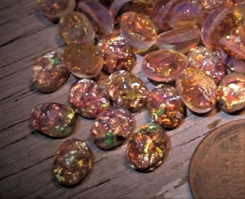 Old 8/6 Oval Japan Fire Opal Bulk Lot Very Vintage Art Glass image 0