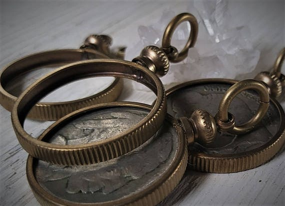 36 Vintage Brass Coin Holder Coin Bezel Nut Caps with Hole US MADE  NEW OLD STK
