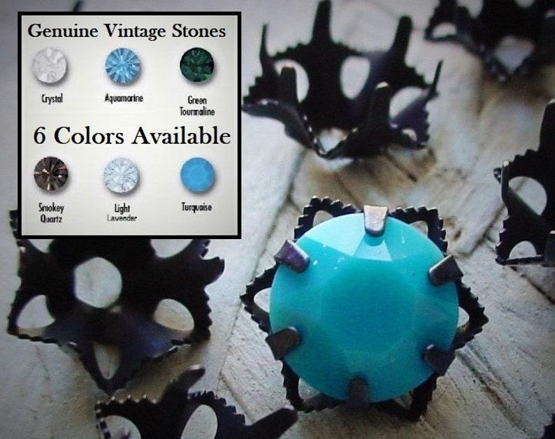 39ss Color Choice Vintage Swarovski Crystal Stone Brass image 0