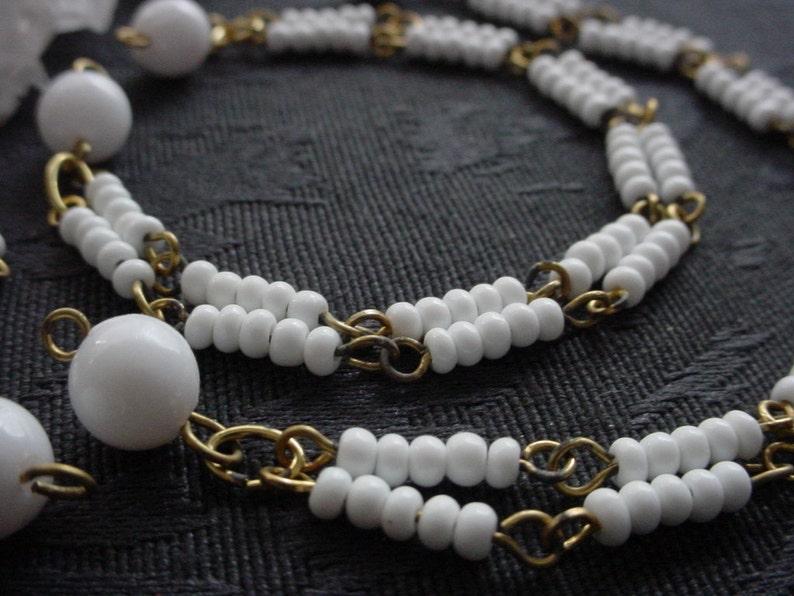 BOGO SALE 12pc Double Strand Vintage Bracelet Glass White Bead image 0