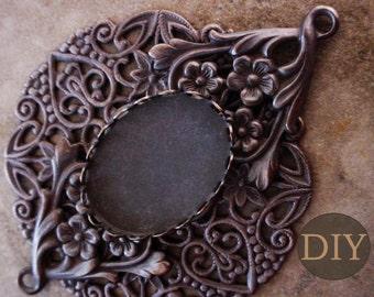 DIY KIT 25/18 mm Oval Filigree Ornate Setting Large Pendant 18/25 Cameo Cabochon Brown Black Brass Vintage Stl Lace Edge Bezel 2L+3P+Bezel