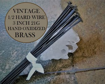 20pc Vintage Half Hard 3 Inch Headpin Solid Brass 21g Wire 75mm Long Jewelry Finding Bead Earring Stringing Dark Brown Black Patina 3J