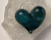 Turquoise Heart, perfect charm, hand made glass, borosilicate bead