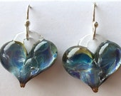 Glass heart earrings, unique purple, hand made with love, Borosilicate