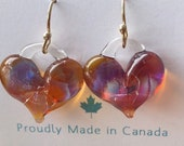Awesome Amber Purple Swirl  Heart Earrings