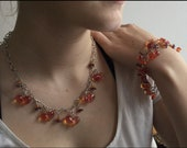 Glass Bracelet and Necklace, handmade, jelly orange and pink