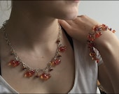 Glass Bracelet and Necklace, handmade, jelly orange and pink, borosilicate bead