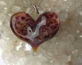 Glass Heart, a mixture all of my own, rusts and reds and pinks, lamp worked, jewelry supply, perfect charms, Pyrex
