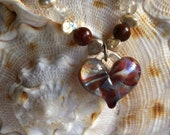 Handmade Glass Heart Necklace with fresh water pearls, moss agate, agate, rutilated quartz sterling silver
