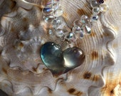 Iridescent Spiral Glass Heart Necklace, hand made glass heart and lots of love!