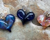 Glass Hearts, perfect charms as gifts or for you, handmade and special, borosilicate bead, borosilicate bead