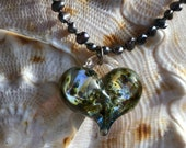 Gorgeous Iridescent Handmade Glass Heart on Purple Pearl Necklace