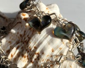 Glass Heart Bracelet, all hand made with deep green heart charms