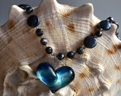 Special Glass Heart Necklace, handmade Pyrex glass, two types of freshwater pearls, Quartz  & Spectrolite