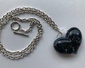 Glass Heart, Black & Green giant heart necklace, Pyrex