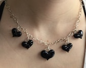 Black Glass Heart Charm Necklace, hand made hearts on heart chain