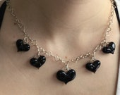 Black Glass Heart Charm Necklace