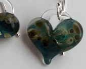 Glass Heart Earrings Blue with gold flecks