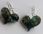 Glass Heart Earrings Blue with gold flecks