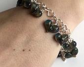 Glass Heart Bracelet, Silver Heart Chain, 14 Green/Blue