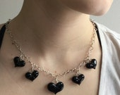 Heart Charm Necklace Black