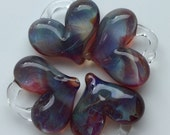 Glass Hearts, lamp worked, jewelry supply, perfect charms, Pyrex, purple