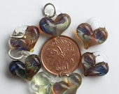 Glass Hearts, lamp worked, jewelry supply, perfect charms, Pyrex, purple & amber