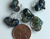 Glass Hearts, lamp worked,jewelry supply, perfect charms, Pyrex, blue, green & gold