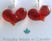 Awesome Red Heart Earrings on Stirling Silver Hooks
