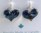 Glass heart earrings with sterling silver hooks