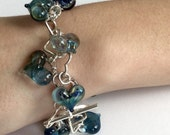 Heart Bracelet, blue lamp worked heart glass beads, silver heart links