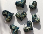 Glass Heart, blue swirl, lamp worked, jewelry supply, perfect charms, Pyrex
