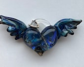 Glass Heart, blue, perfect charms, Pyrex