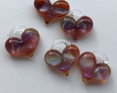 Glass Heart, amber purple swirl, lamp worked, jewelry supply, perfect charms, Pyrex