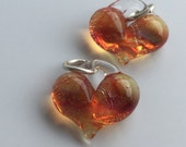 Glass Hearts, lamp worked, jewelry supply, perfect charms, Pyrex, orange, purple & amber