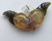 Glass Heart,Amber Purple with Amber Green Wings, perfect charms, Pyrex