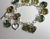 Silver Heart Chain with 11 Green Pyrex Hearts Bracelet