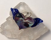 Winged Glass Heart, lamp worked, jewelry supply, perfect charms