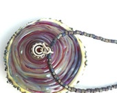 Oyster Pendant, with pearl and purple beaded necklace