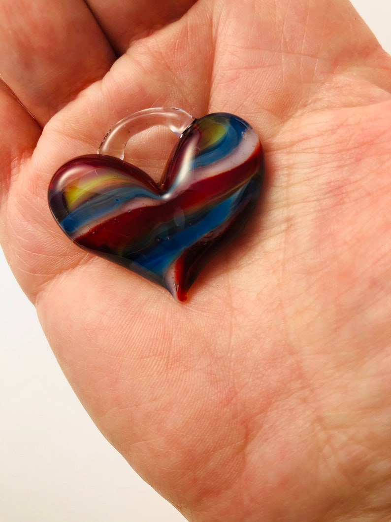 Large Heart perfect charm hand made glass borosilicate bead image 0