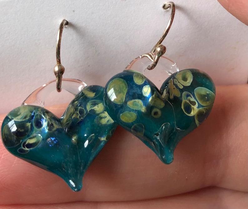 Glass Heart Earrings Blue with gold flecks image 0