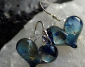 Awesome Blue Heart Earrings, borosilicate bead